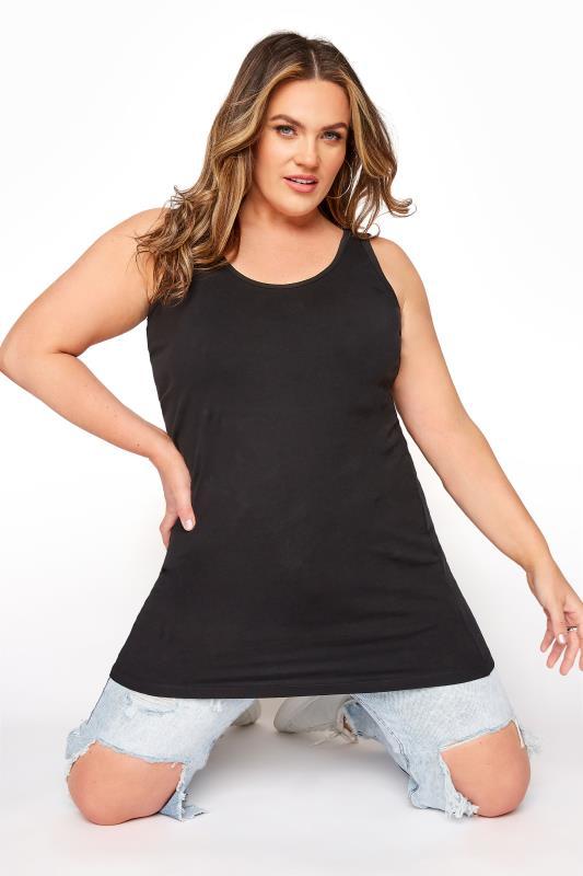 Plus Size Basic T-Shirts & Vests Black Longline Vest