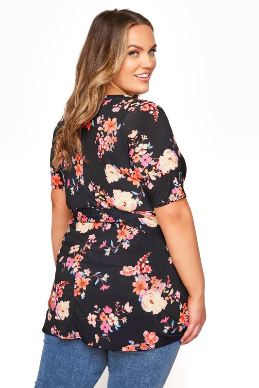 YOURS LONDON Black Neon Floral Belted Wrap Top_C.jpg