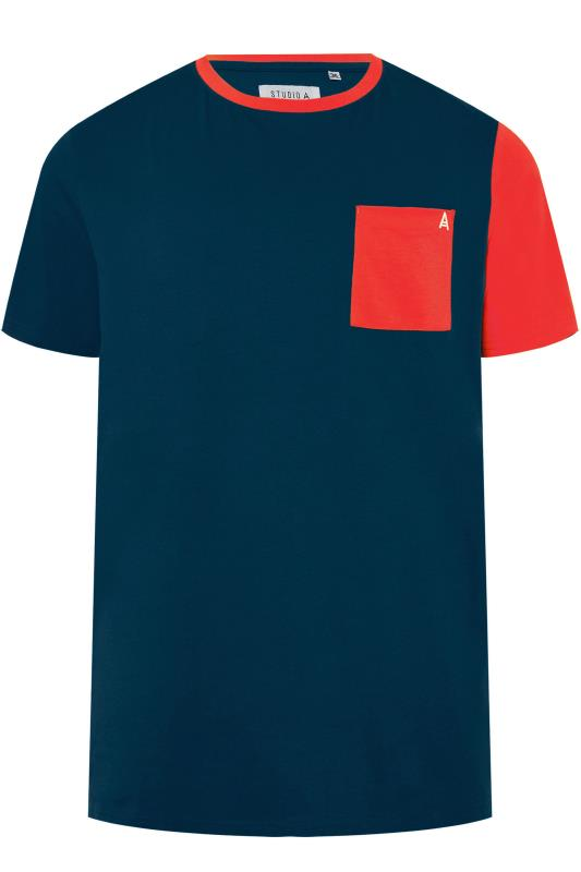Plus Size T-Shirts STUDIO A Navy & Red Colour Block T-Shirt