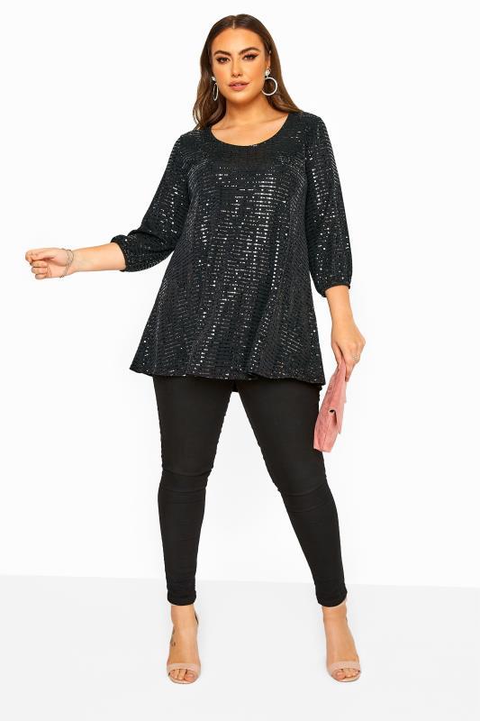 Black Sparkle Embellished Balloon Sleeve Swing Top