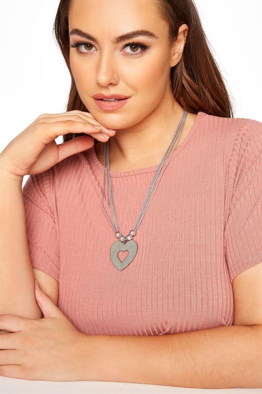 dla puszystych Silver Heart Pendant Necklace