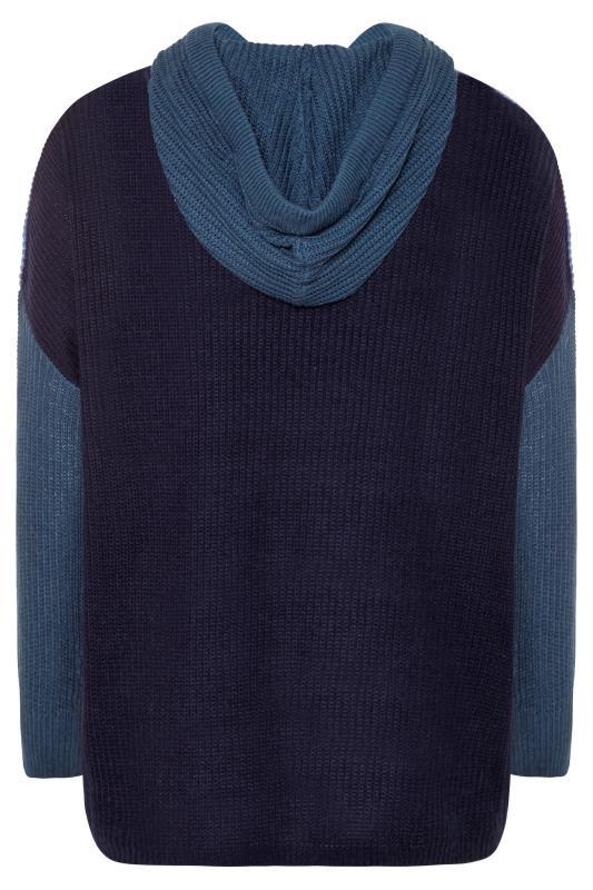 Dusty Blue Colour Block Oversized Knitted Hoodie_BK.jpg