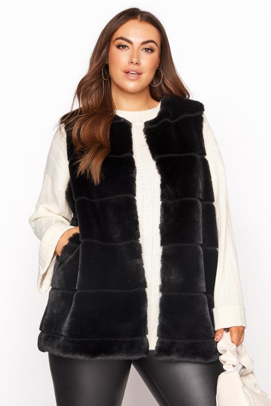Grande Taille Black Pelted Faux Fur Gilet