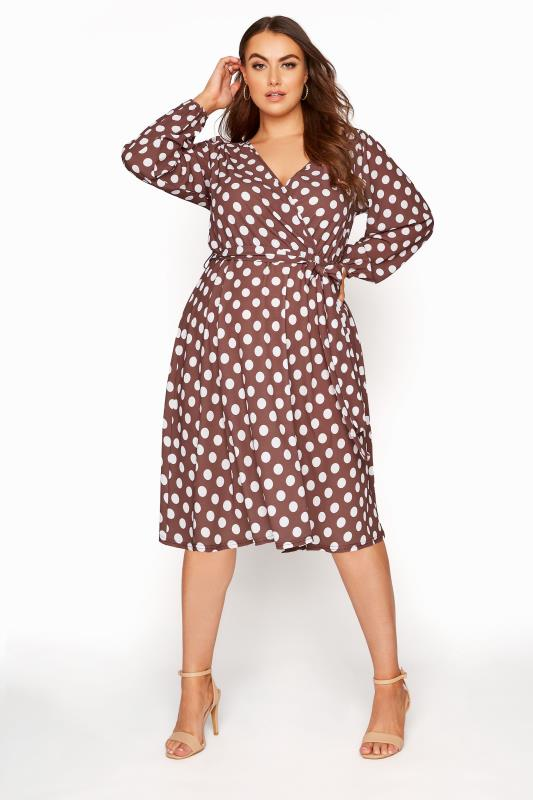 YOURS LONDON Brown Polka Dot Wrap Midi Dress_A.jpg