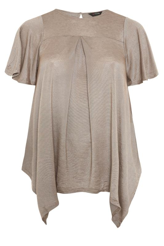 Plus Size  Gold Stripe Hanky Hem Tunic