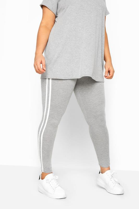 Plus Size Fashion Leggings LIMITED COLLECTION Grey & White Tape Leggings