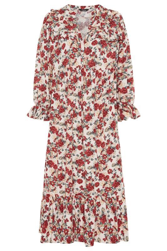 THE LIMITED EDIT Cream Floral Frill Smock Maxi Dress_F.jpg