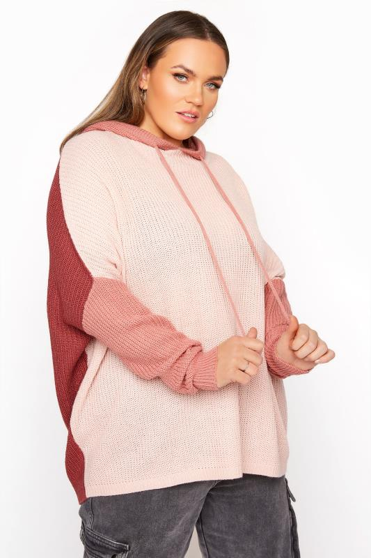 Plus Size  Pink Colour Block Oversized Knitted Hoodie
