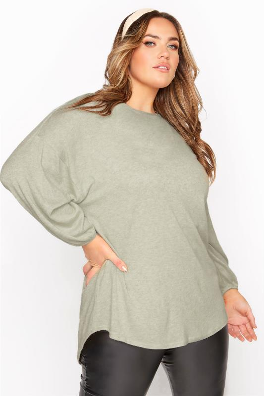 Plus Size  Khaki Marl Soft Dipped Hem Knitted Top