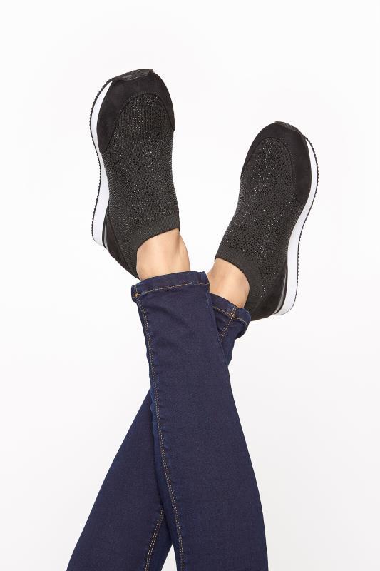 Black Sock Style Diamante Trainers