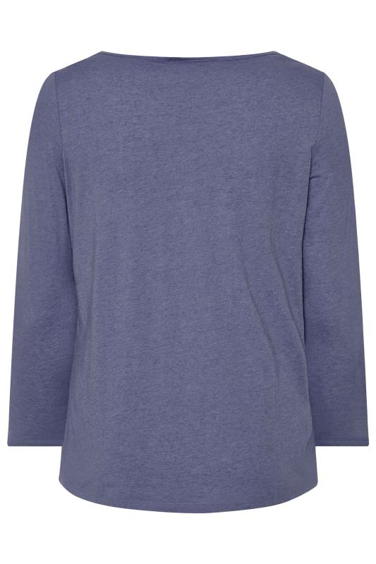 Denim Blue Marl Scoop Neck Top