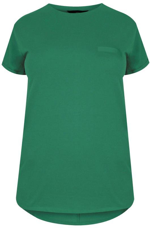 Green Mock Pocket Dipped Hem T-Shirt