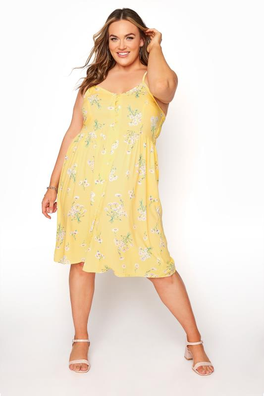 Plus Size  Yellow Floral Button Front Cami Dress