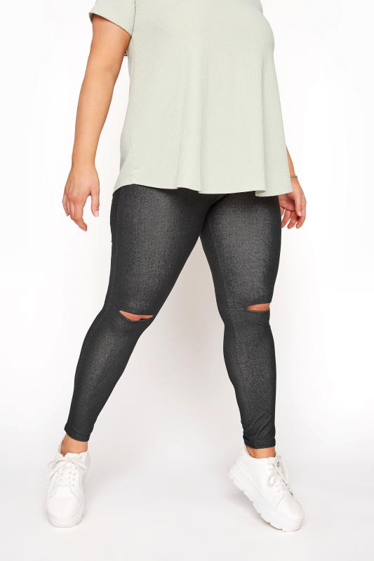 Plus Size  Black Ripped Knee Jegging