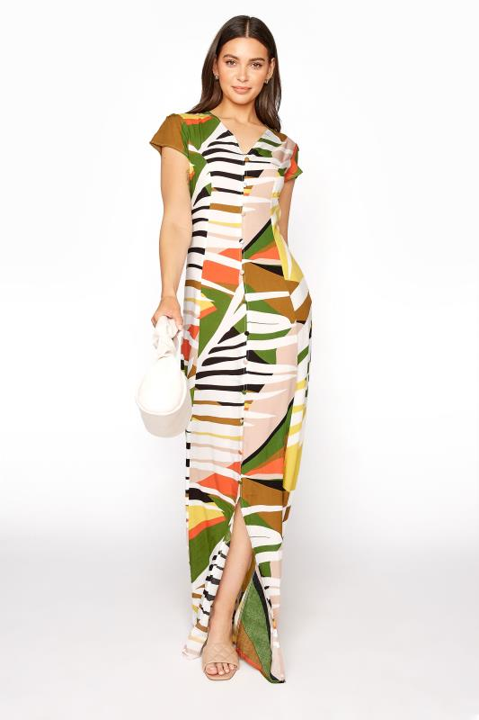 Multi Abstract Button Down Maxi Dress