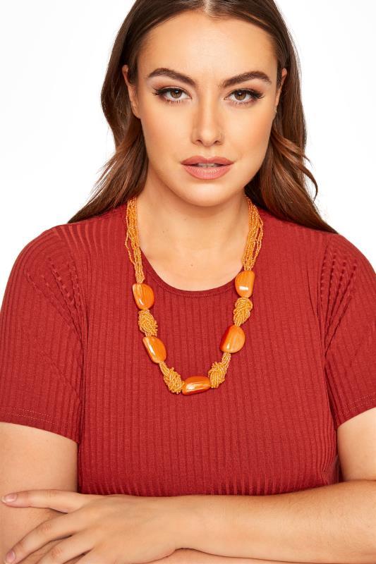 Plus Size  Orange Beaded Stone Necklace