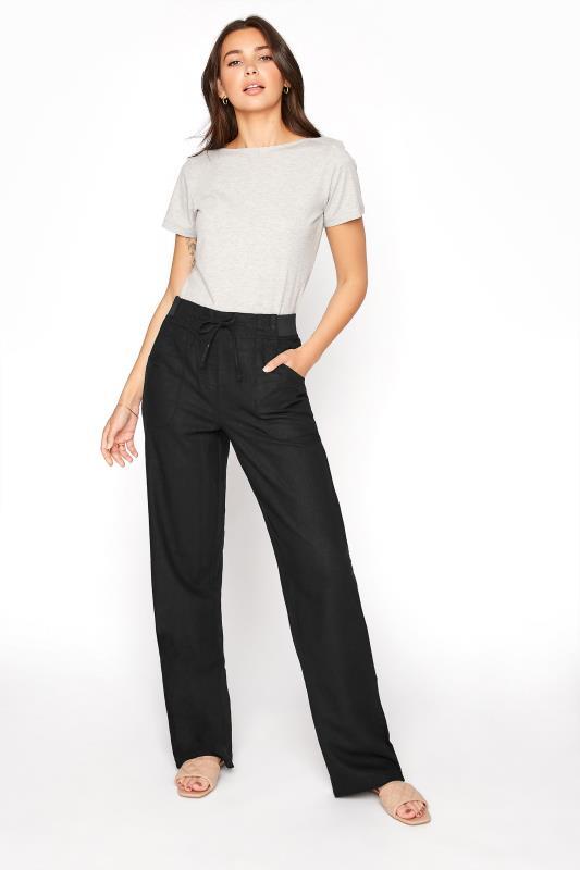 LTS Black Linen Blend Wide Leg Trousers