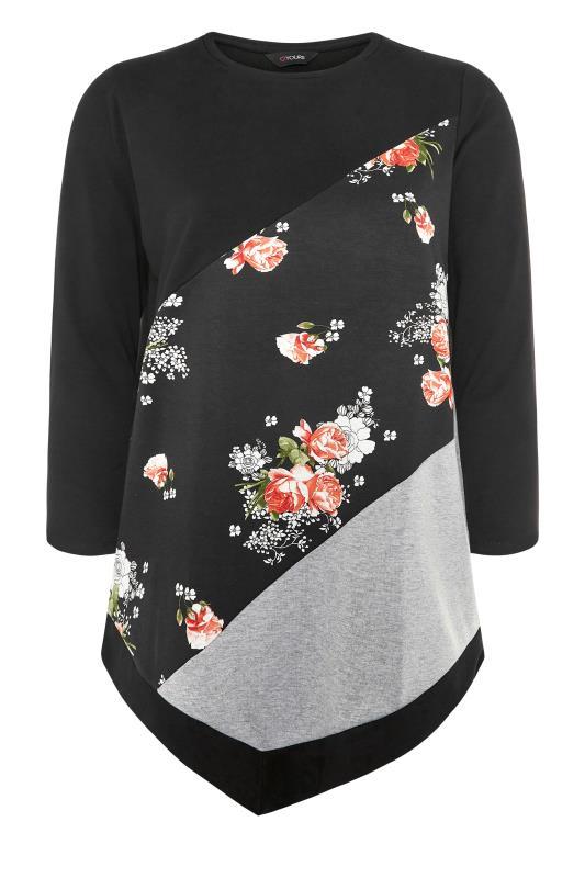 dla puszystych Black Floral Print Colour Block Sweatshirt