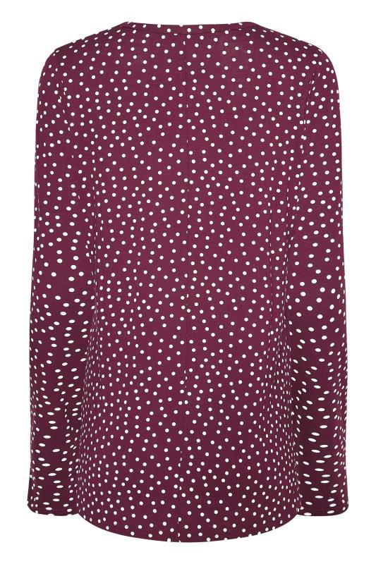 LTS Burgundy Polka Dot Print Long Sleeve T-Shirt_BK.jpg