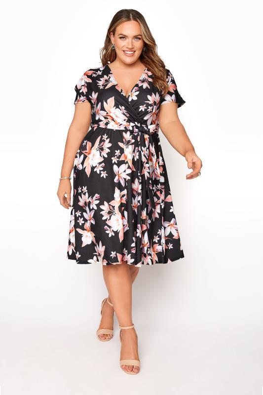 Plus Size  YOURS LONDON Black Floral Wrap Dress