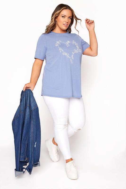 LIMITED COLLECTION Dusky Blue Heart Print T-Shirt_B.jpg