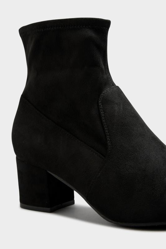 Black Faux Suede Stretch Block Heeled Boots In Extra Wide Fit_E.jpg