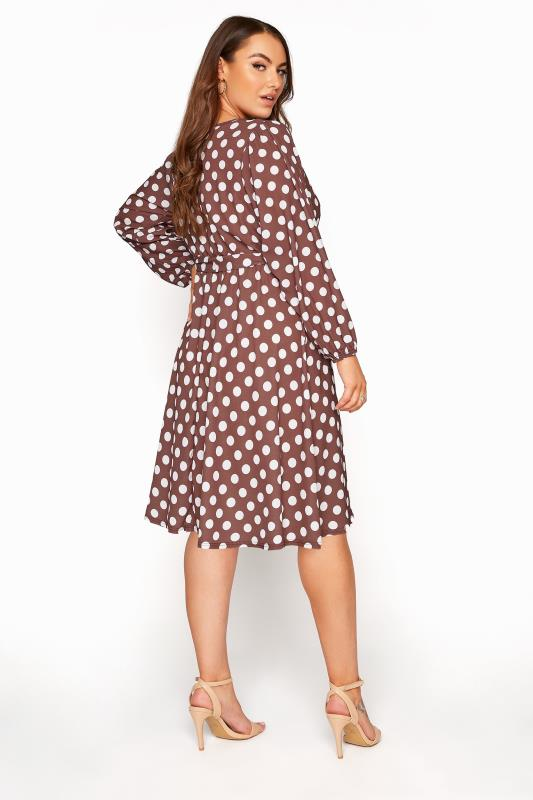 YOURS LONDON Brown Polka Dot Wrap Midi Dress_C.jpg