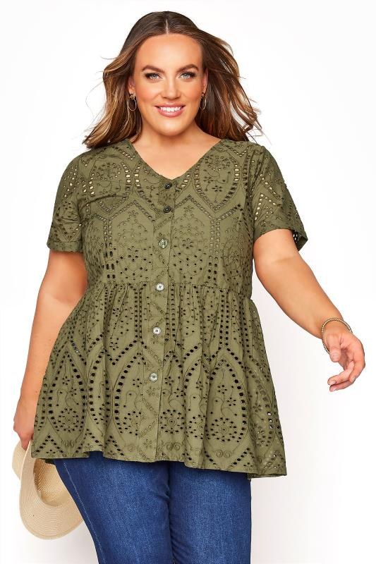 Plus Size  Khaki Embroidered Lace Peplum Top