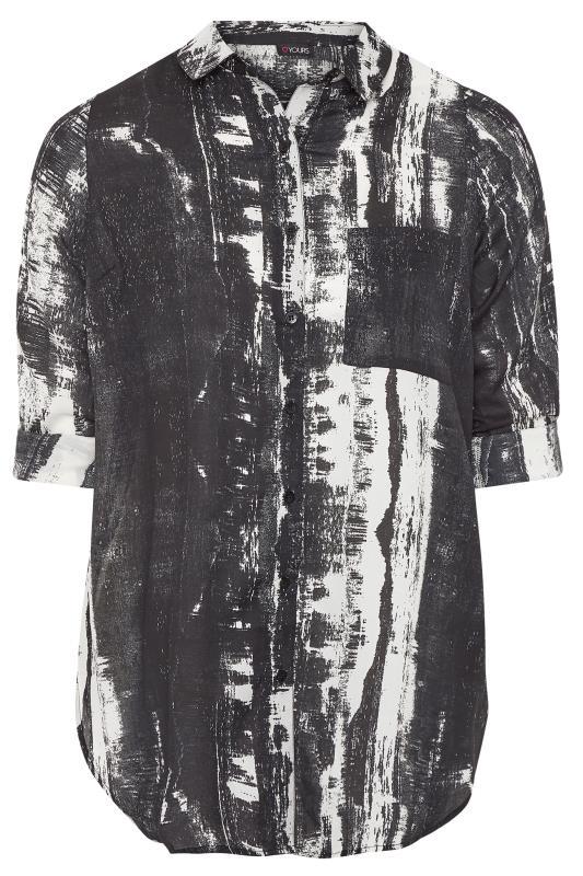 Black Tie Dye Print Boyfriend Shirt