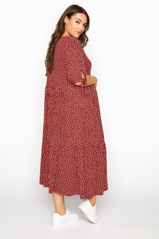 BUMP IT UP MATERNITY Red Polka Dot Smock Midaxi Dress_C.jpg