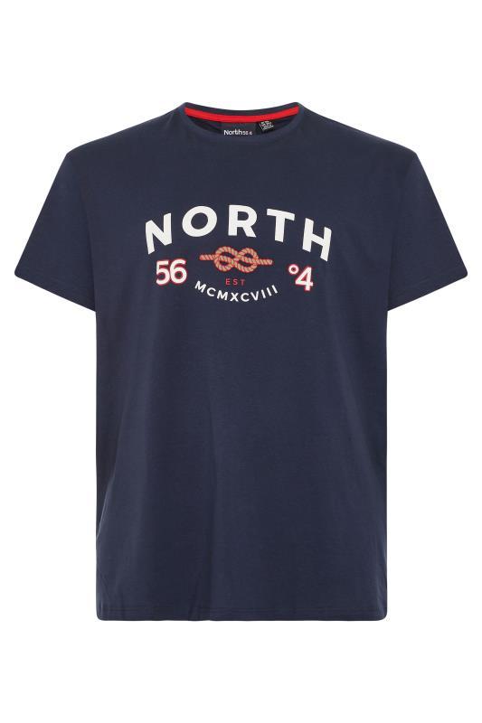 Großen Größen  NORTH 56°4 Navy Logo Print T-Shirt