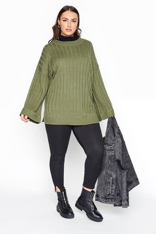 Khaki Ribbed Wide Sleeve Knitted Jumper_B.jpg
