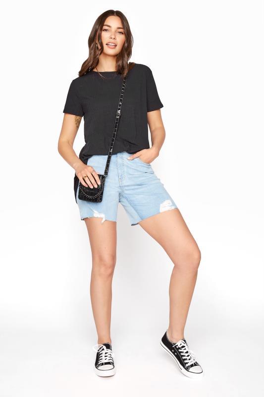 LTS Bleach Blue Cut Off Ripped Denim Shorts_B.jpg