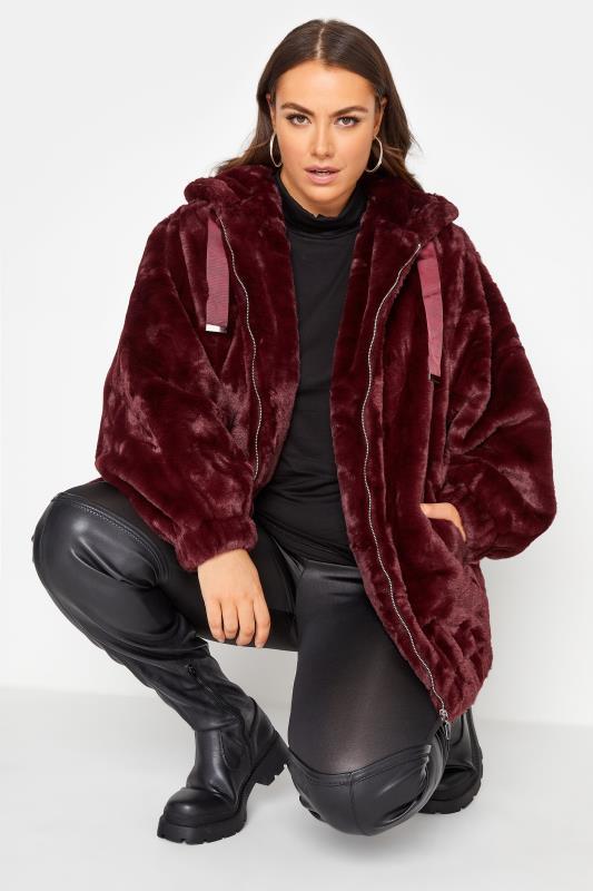Burgundy Faux Fur Oversized Jacket_AR.jpg