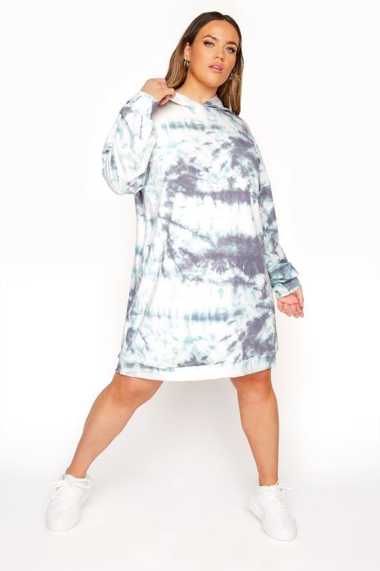 LIMITED COLLECTION Blue Tie Dye Longline Hoodie