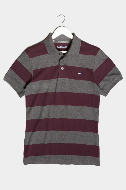 Men's  BadRhino Charcoal Grey & Burgundy Striped Polo Shirt