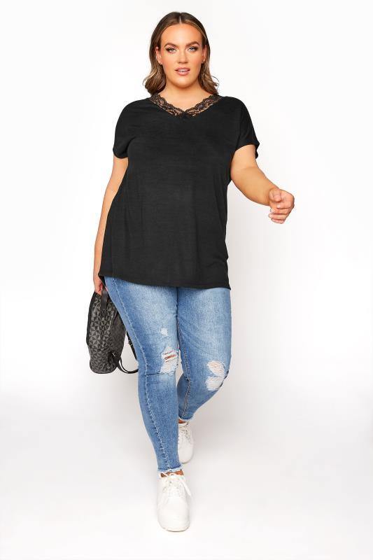 Black Lace Neck T-Shirt