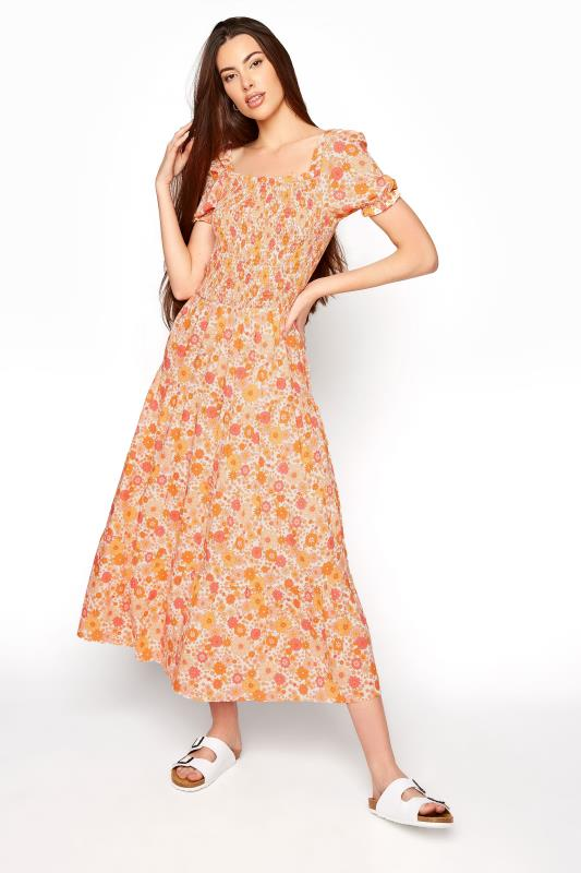 LTS Orange Short Sleeve Floral Maxi Dress