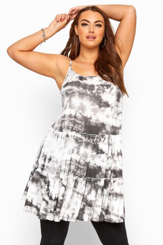 Plus Size Day Tops Grey Tie Dye Strappy Tiered Peplum Smock Tunic