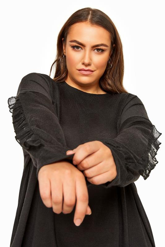 Black Oversized Frill Sleeve Sweatshirt