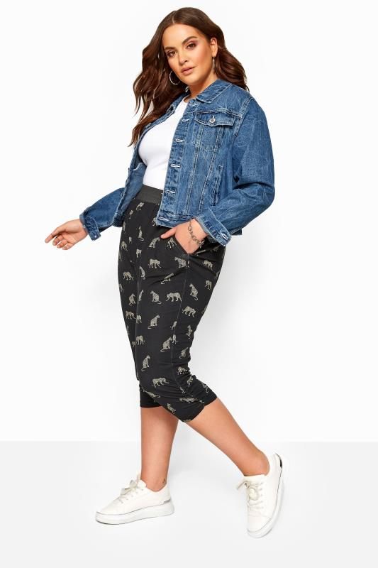 Plus Size Stretched Cropped Trousers Black Leopard Cropped Harem Trousers