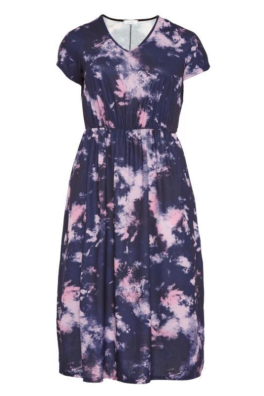 YOURS LONDON Navy Tie Dye Pocket Midi Dress_F.jpg