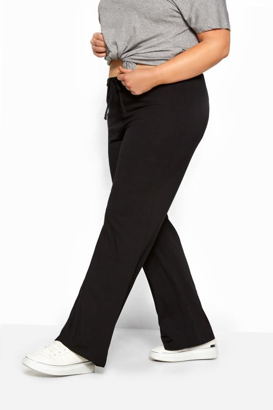 Black Wide Leg Pull On Stretch Jersey Yoga Pants Plus Size 16 To 36 Yours Clothing