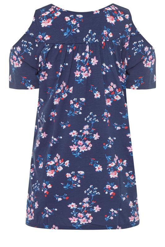 Navy Floral Lace Yoke Cold Shoulder Top_bk.jpg