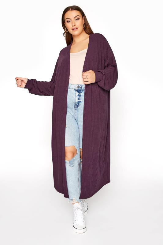 LIMITED COLLECTION Plum Ribbed Long Cardigan_B.jpg