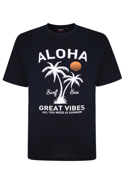 Plus Size  ESPIONAGE Navy Aloha Print T-Shirt