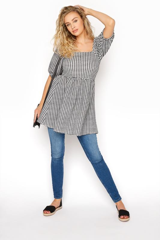 LTS Black Gingham Square Neck Milkmaid Top