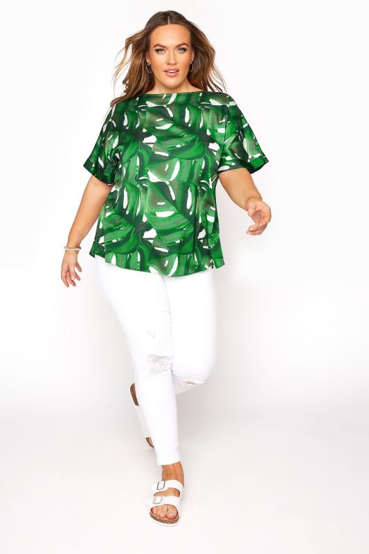 Green Tropical Print Blouse
