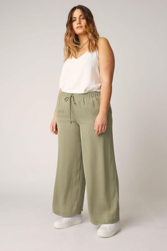 THE LIMITED EDIT Olive Green Wide Leg Trousers_A.jpg