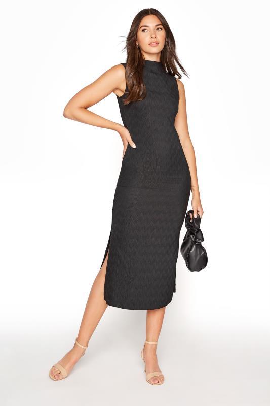 Tall Straight Dress Black Plisse Midi Dress